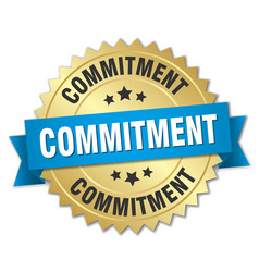 Commitment round isolated gold badge vector