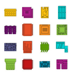computer chips icons doodle set vector image