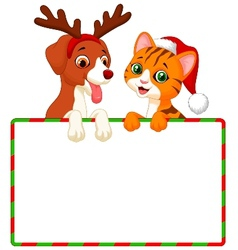 Cute cartoon cat and dog holding blank sign vector