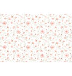 Daisy flowers green stem leaves seamless pattern vector