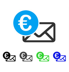 Euro message flat icon vector