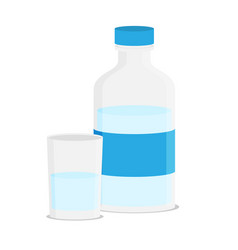 flat of glass water and bottle vector image vector image