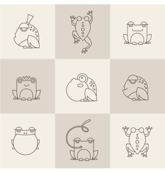 Frog characters flat vector