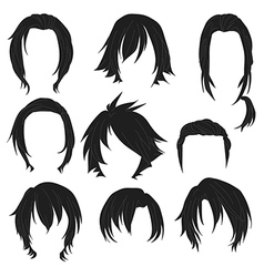 Hair styling for woman drawing Black Set 3 vector image vector image