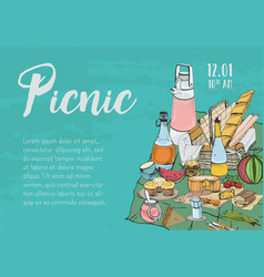 hand drawn banner poster picnic announcement or vector image
