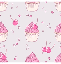Hand drawn cherry cupcake seamless pattern vector image