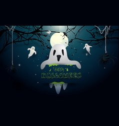 happy halloween design ghosts and bat on full moon vector image