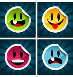 happy smiling stickers vector image vector image