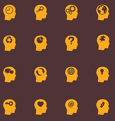 Head brain icons set vector image vector image