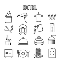 Hotel themed line graphics vector