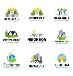 House and skyscraper real estate design vector