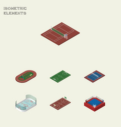Isometric competition set of tennis ice games vector