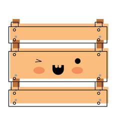 kawaii wooden basket in watercolor silhouette vector image vector image