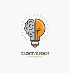 Logo with a half of light bulb and brain vector
