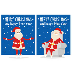 Merry christmas happy new year poster santa snow vector