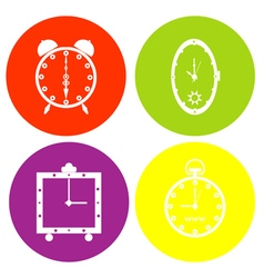 monochrome icon set with clock vector image