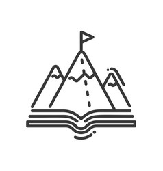 mountain education - modern single line vector image