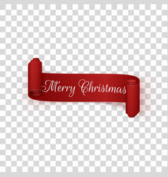 realistic merry christmas scroll red ribbon vector image vector image