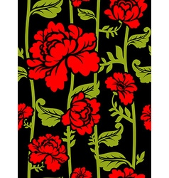 Red roses on long stems seamless pattern of vector