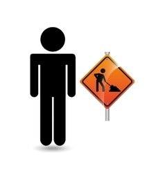 Road sign under construction silhouette man vector