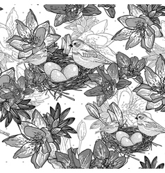 Seamless monochrome floral background with bird vector
