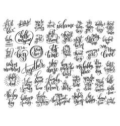 Set of 50 hand written lettering about family and vector