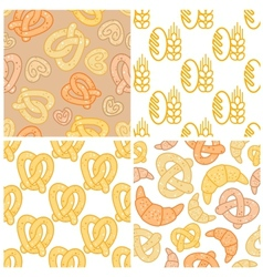 Set of bakery seamless patterns vector