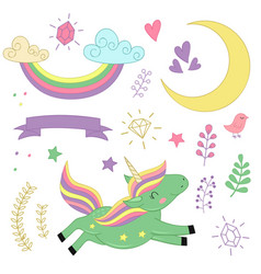 set of isolated unicorn and elements part 2 vector image vector image