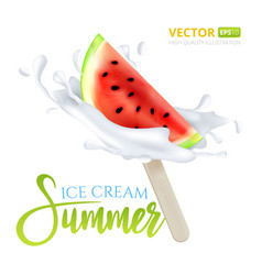slice of watermelon fruit ice cream on a stick vector image