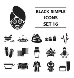 spa set icons in black style big collection spa vector image vector image