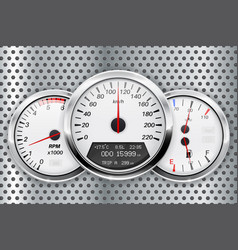 Speedometer car dashboard on metal perforated vector