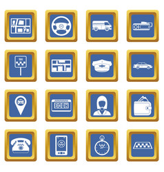 Taxi icons set blue vector