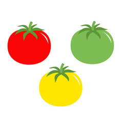 Tomato with leaves icon red yellow green color vector