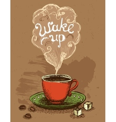 Wake up coffee cup vector image vector image