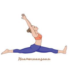 women silhouette monkey yoga pose hanumanasana vector image vector image