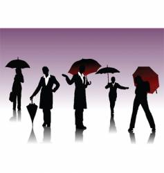 women silhouettes with umbrella vector image vector image