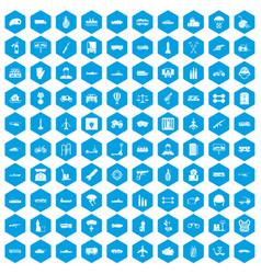 100 burden icons set blue vector