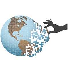 Person hand find global puzzle solution vector image