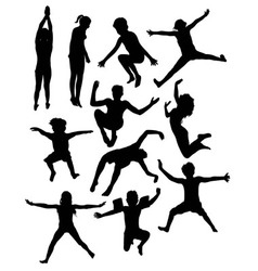 Kids playing in the pool silhouettes vector