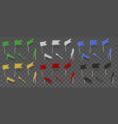 Colored thumbtacks flag isolated on transparent vector