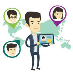 man holding tablet with social network vector image