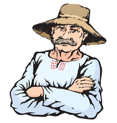 Village farmer man in straw hat vector