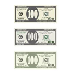 Bill one hundred dollars in three options vector