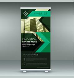 Green geometric standee roll up banner design vector