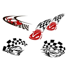 Racing cars with checkered winding roads vector