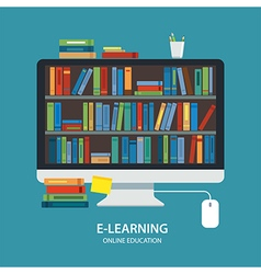 Online library education concept flat design vector