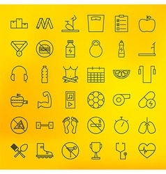 Fitness and dieting line big icons set vector