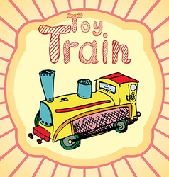 Cartoon toy train colored hand drawn sketch vector