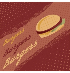 Vintage burgers poster vector image