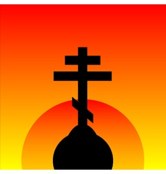 The orthodox cross at sunset background vector